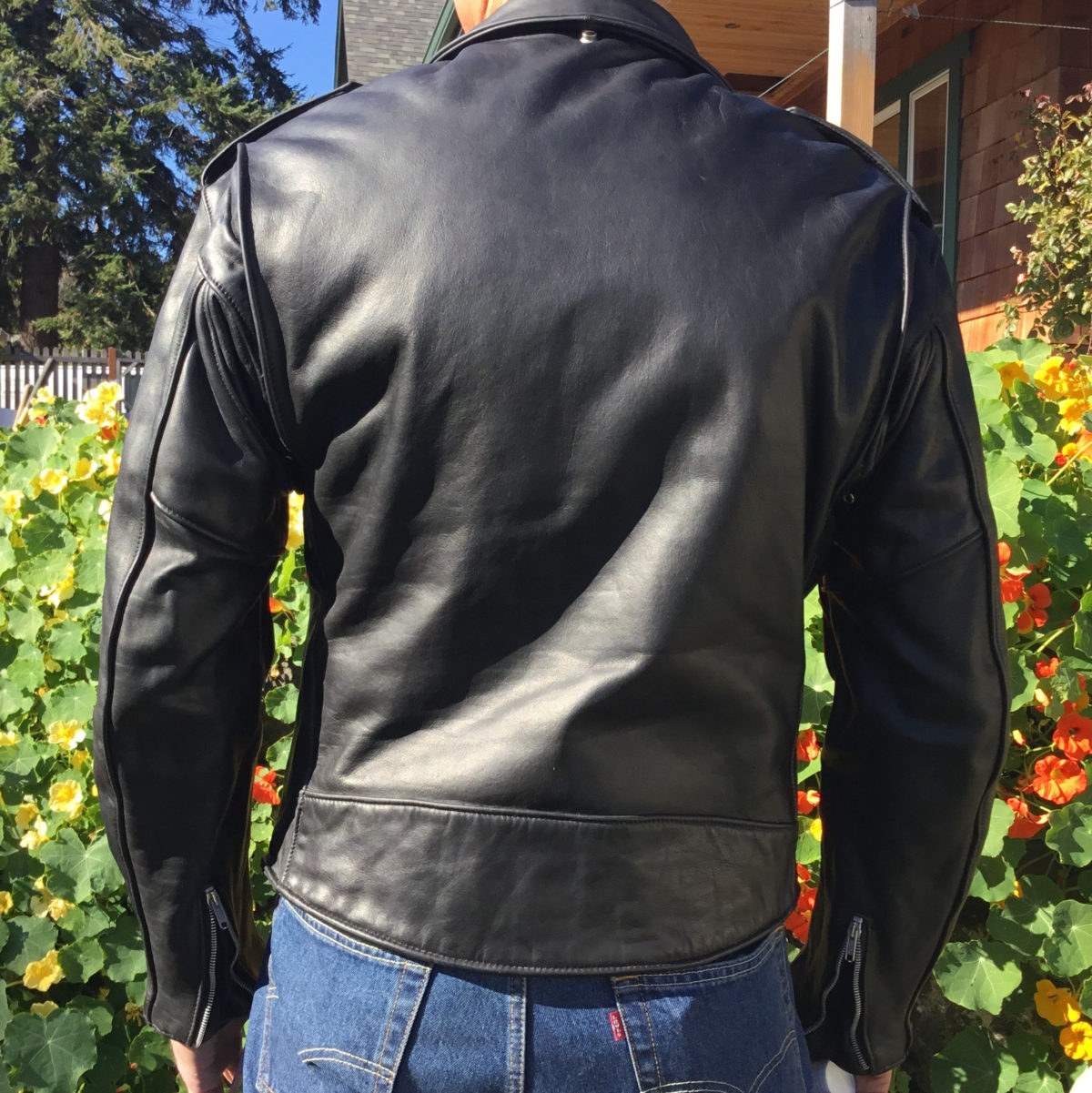 Leather jacket modeled